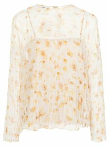 Vince floral-print crinkled blouse - Yellow