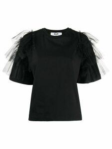 MSGM ruffle-sleeved T-shirt - Black