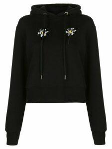 Palm Angels daisy-print hoodie - Black
