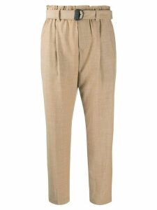 Brunello Cucinelli cropped belted trousers - NEUTRALS
