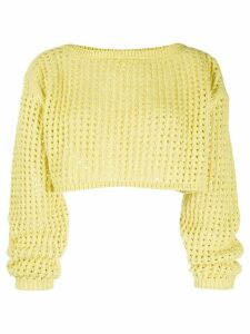 Nanushka perforated cropped jumper - Yellow