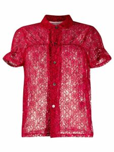 Comme Des Garçons Girl sheer lace blouse - Red