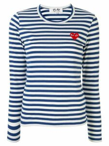 Comme Des Garçons Play striped logo-patch T-shirt - Blue