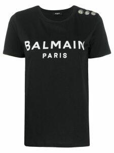 Balmain logo-print button-embellished T-shirt - Black