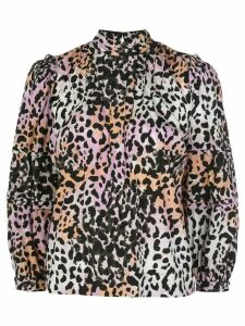 Veronica Beard pleated leopard-print blouse - PURPLE
