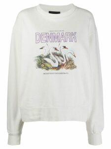 Han Kjøbenhavn swan print sweatshirt - White