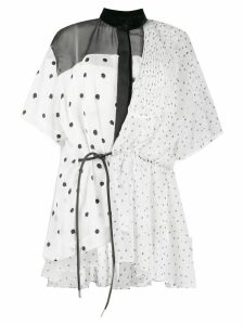 Sacai polka dot asymmetric blouse - White