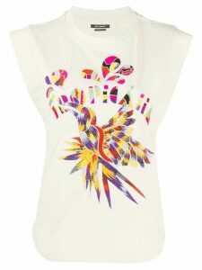 Isabel Marant Seleno graphic embroidery tank top - NEUTRALS