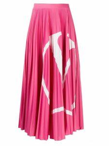 Valentino VLOGO pleated midi skirt - PINK