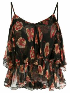 Mes Demoiselles V-back floral print blouse - Black