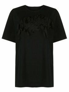 Yohji Yamamoto tonal woven embellished T-shirt - Black