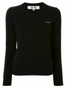 Comme Des Garçons Play logo embroidered v-neck jumper - Black