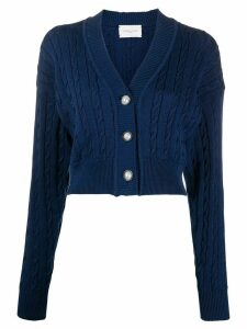 Giuseppe Di Morabito cable knit v-neck cardigan - Blue