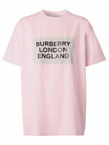 Burberry logo print oversize T-shirt - PINK