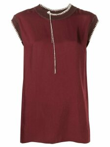 Joseph Bo Washed contrast-stitching blouse - Red