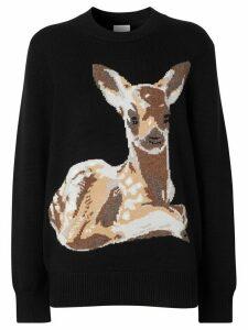 Burberry deer intarsia jumper - Black