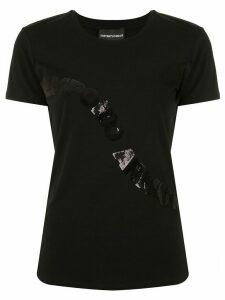 Emporio Armani sequin logo T-shirt - Black