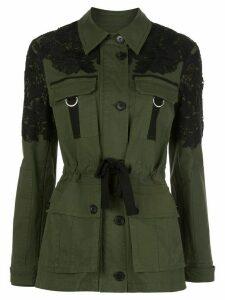 Veronica Beard lace-embellished belted jacket - Green