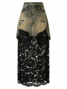 Maison Mihara Yasuhiro high rise maxi skirt - Black
