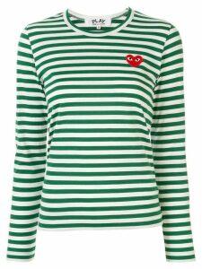 Comme Des Garçons Play striped logo-patch T-shirt - Green