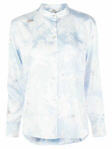 Vince Painted Magnolia-print satin shirt - Blue