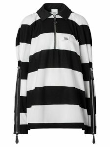 Burberry oversized striped rugby shirt - Black