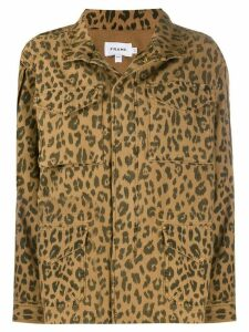 FRAME multi-pocket animal-print jacket - Brown