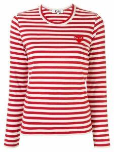 Comme Des Garçons Play striped logo-patch T-shirt - Red