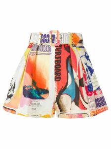 Zimmermann poster-print belted shorts - White