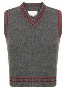 Maison Margiela stripe-detail sleeveless jumper - Grey