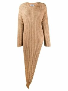 Nanushka ribbed asymmetric jumper - Brown