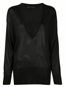 Versace oversized v-neck jumper - Black