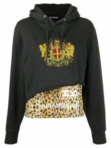 Han Kjøbenhavn leopard-panelled hoodie - Black