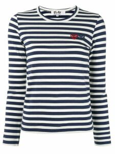 Comme Des Garçons Play striped-print branded top - Blue