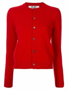 Comme Des Garçons Play crew neck buttoned cardigan - Red