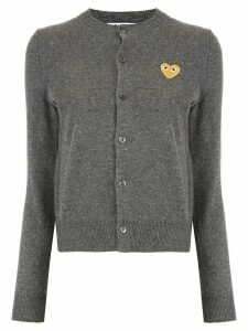 Comme Des Garçons Play logo-patch knitted cardigan - Grey