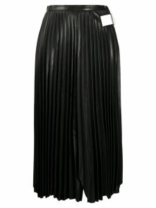 Helmut Lang pleated leather midi skirt - Black