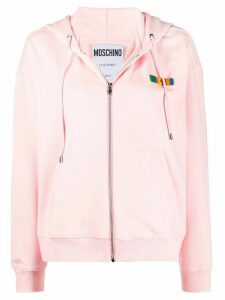 Moschino logo-lettering zip-up hoodie - PINK