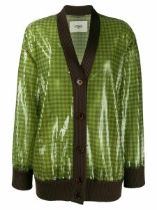 Fendi sequinned V-neck cardigan - Green