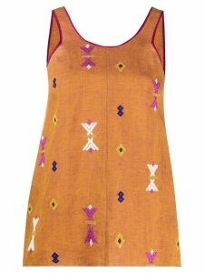 Forte Forte embroidered sleeveless top - Brown
