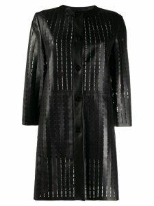 Drome laser-cut leather coat - Black