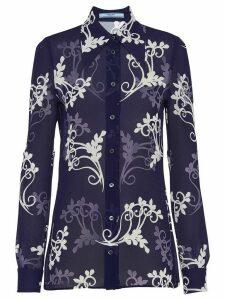 Prada Sablé crêpe fan shirt - Blue
