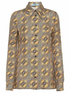 Prada mosaic printed twill blouse - GOLD