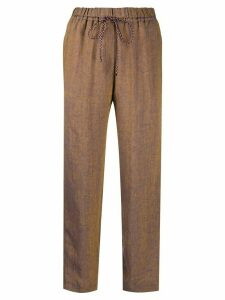 Forte Forte textured contrast stitch trousers - Blue