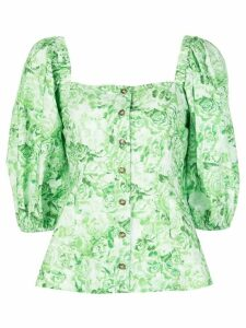 GANNI rose print blouse - Green