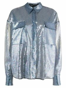 David Koma sheer sequined shirt - Blue
