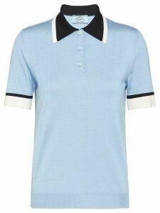 Prada contrast-collar silk polo shirt - Blue