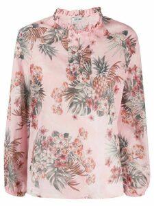 LIU JO floral print ruffle neck blouse - PINK