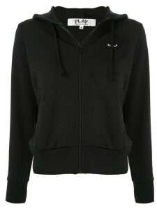 Comme Des Garçons Play logo embroidered zipped hoodie - Black