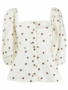 GANNI polka dot blouse - NEUTRALS